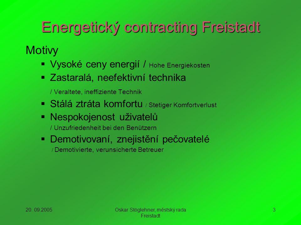 20. 09.2005Oskar Stöglehner, městský rada Freistadt 3 Energetický contracting Freistadt Motivy Vysoké ceny energií / Hohe Energiekosten Zastaralá, nee