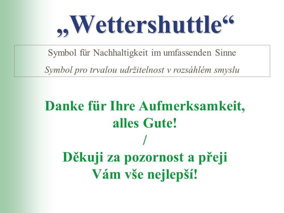 WettershuttleWettershuttle Symbol für Nachhaltigkeit im umfassenden Sinne Symbol pro trvalou udržitelnost v rozsáhlém smyslu Danke für Ihre Aufmerksam