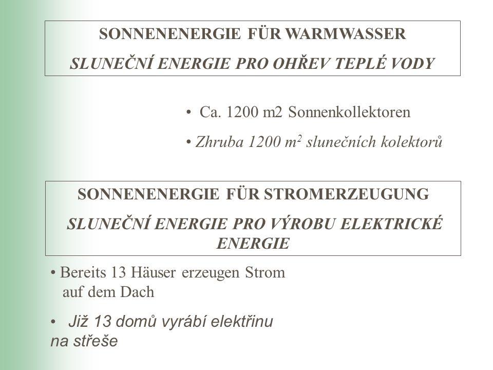 Ca. 1200 m2 Sonnenkollektoren Zhruba 1200 m 2 slunečních kolektorů SONNENENERGIE FÜR WARMWASSER SLUNEČNÍ ENERGIE PRO OHŘEV TEPLÉ VODY SONNENENERGIE FÜ