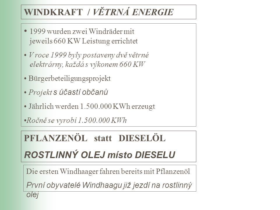 1999 wurden zwei Windräder mit jeweils 660 KW Leistung errichtet V roce 1999 byly postaveny dvě větrné elektrárny, každá s výkonem 660 KW Bürgerbeteil