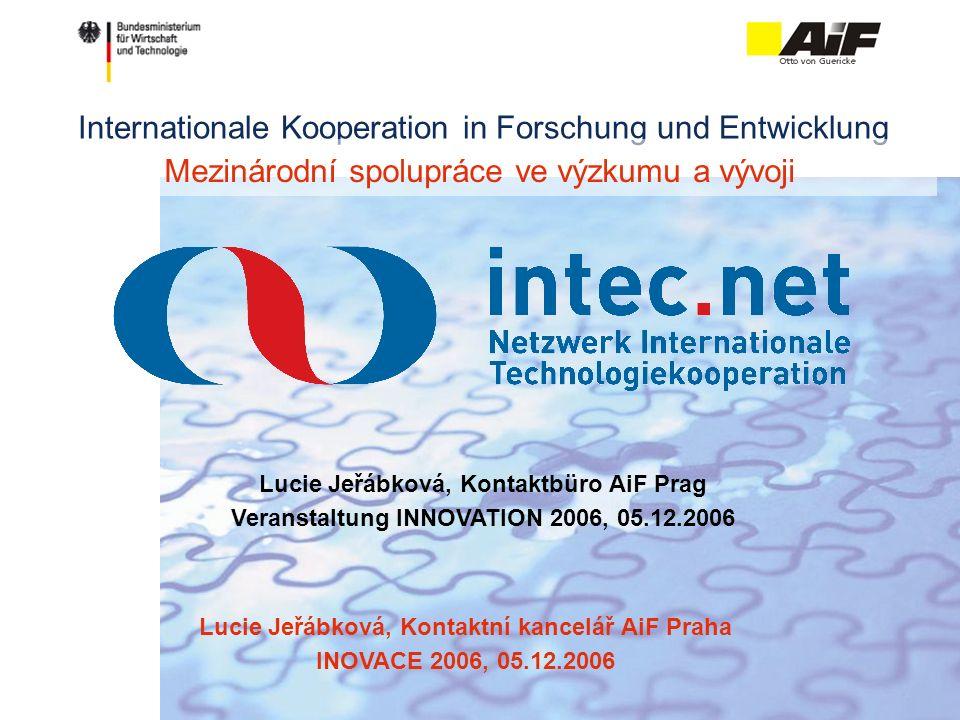 Internationale Kooperation in Forschung und Entwicklung Lucie Jeřábková, Kontaktbüro AiF Prag Veranstaltung INNOVATION 2006, 05.12.2006 Mezinárodní spolupráce ve výzkumu a vývoji Lucie Jeřábková, Kontaktní kancelář AiF Praha INOVACE 2006, 05.12.2006
