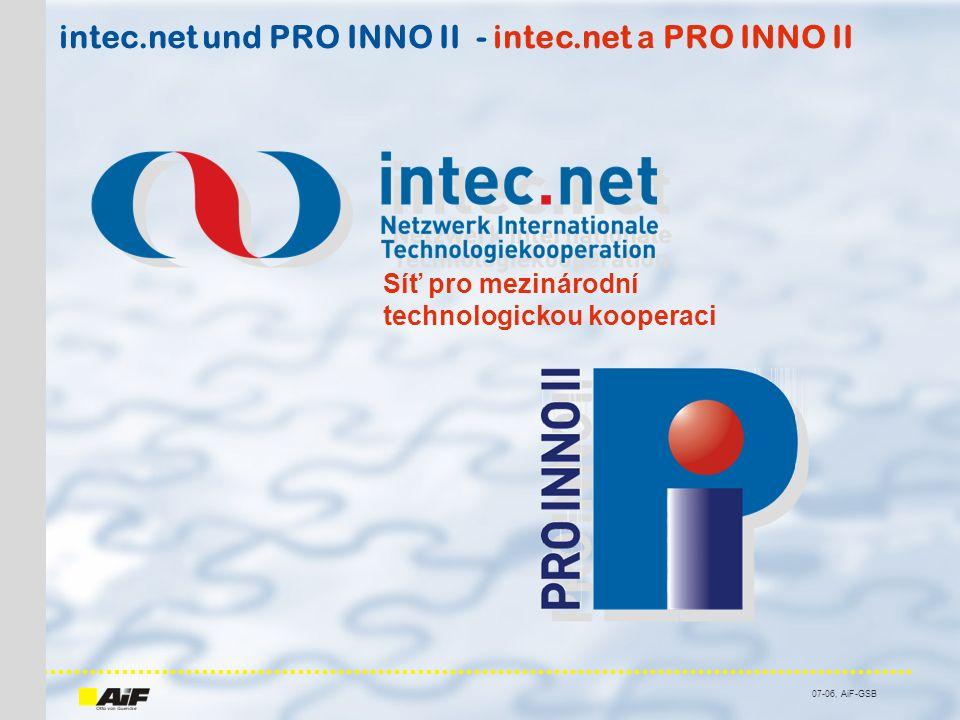 07-06, AiF-GSB intec.net und PRO INNO II - intec.net а PRO INNO II Síť pro mezinárodní technologickou kooperaci