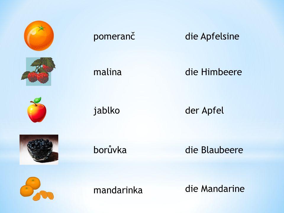 pomeranč malina jablko borůvka mandarinka die Apfelsine die Himbeere der Apfel die Blaubeere die Mandarine