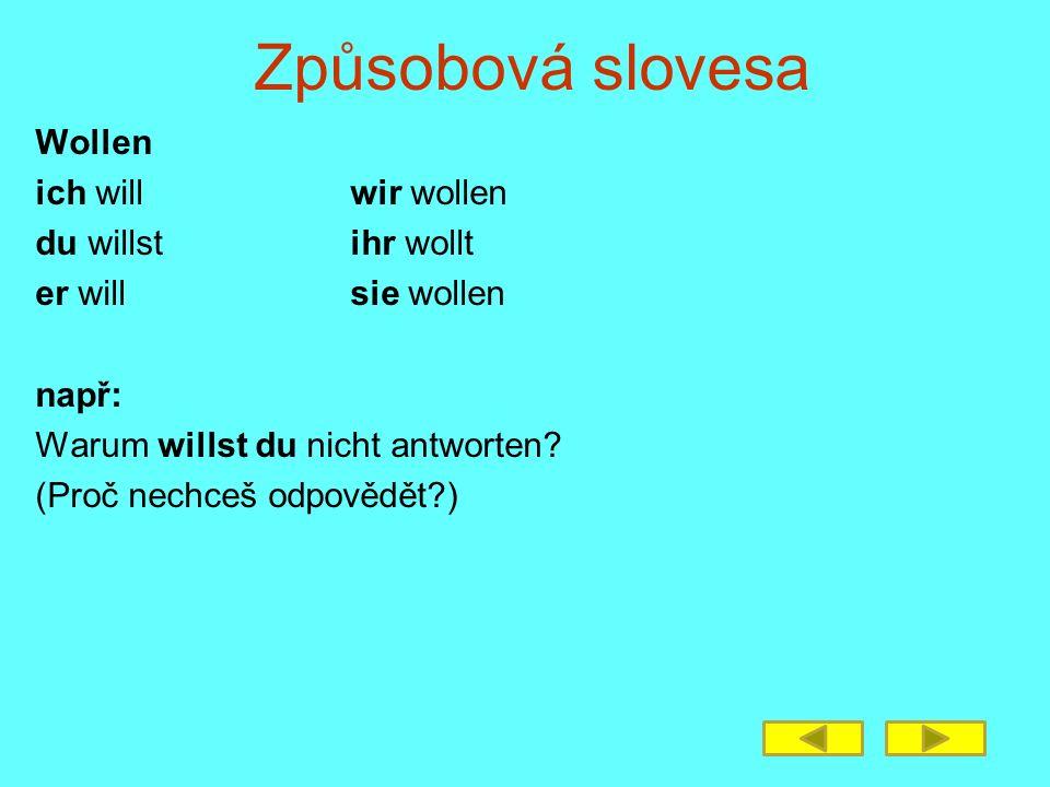 Způsobová slovesa Wollen ich willwir wollen du willstihr wollt er willsie wollen např: Warum willst du nicht antworten.
