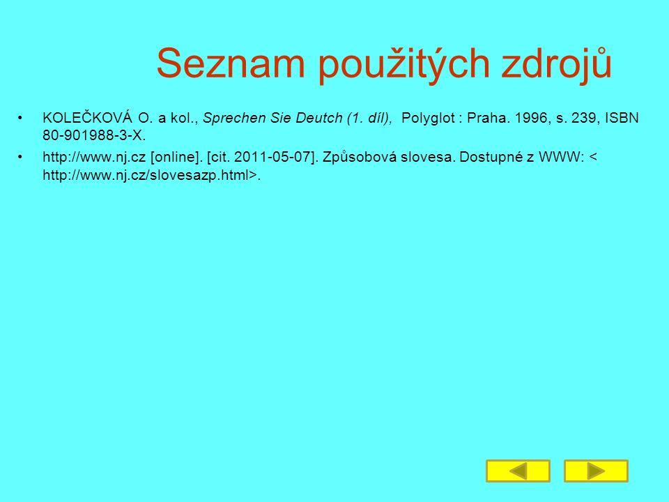 Seznam použitých zdrojů KOLEČKOVÁ O. a kol., Sprechen Sie Deutch (1. díl), Polyglot : Praha. 1996, s. 239, ISBN 80-901988-3-X. http://www.nj.cz [onlin