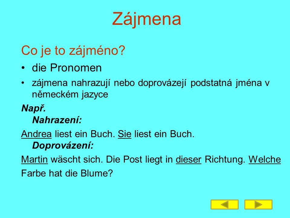 Co je to zájméno? die Pronomen zájmena nahrazují nebo doprovázejí podstatná jména v německém jazyce Např. Nahrazení: Andrea liest ein Buch. Sie liest