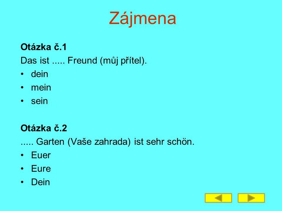 Zájmena Otázka č.1 Das ist..... Freund (můj přítel).