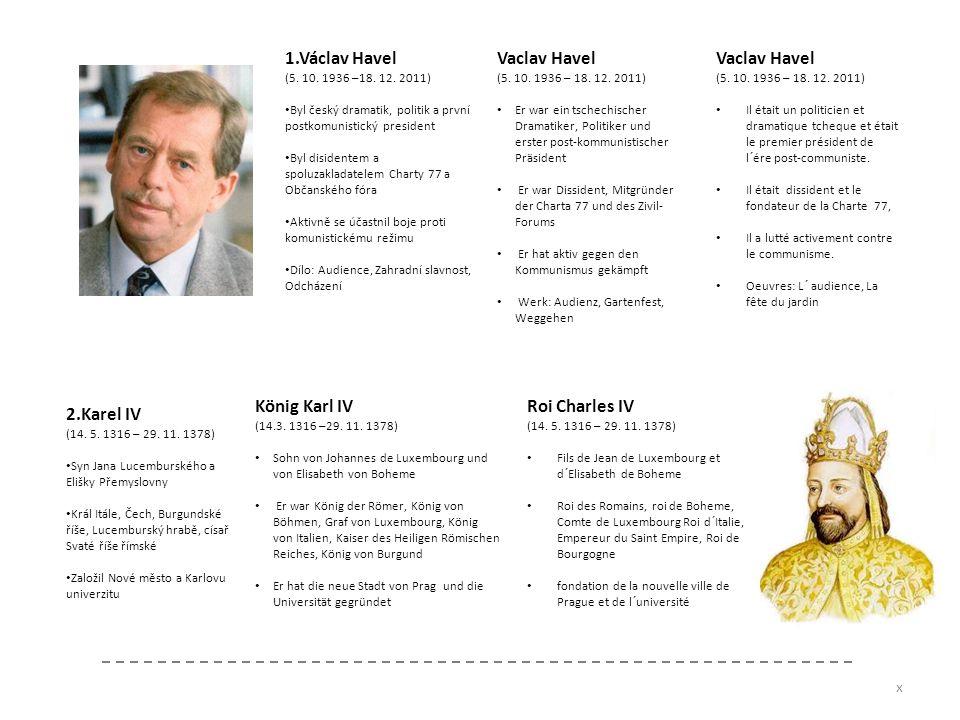 1.Václav Havel (5. 10. 1936 –18. 12. 2011) Byl český dramatik, politik a první postkomunistický president Byl disidentem a spoluzakladatelem Charty 77