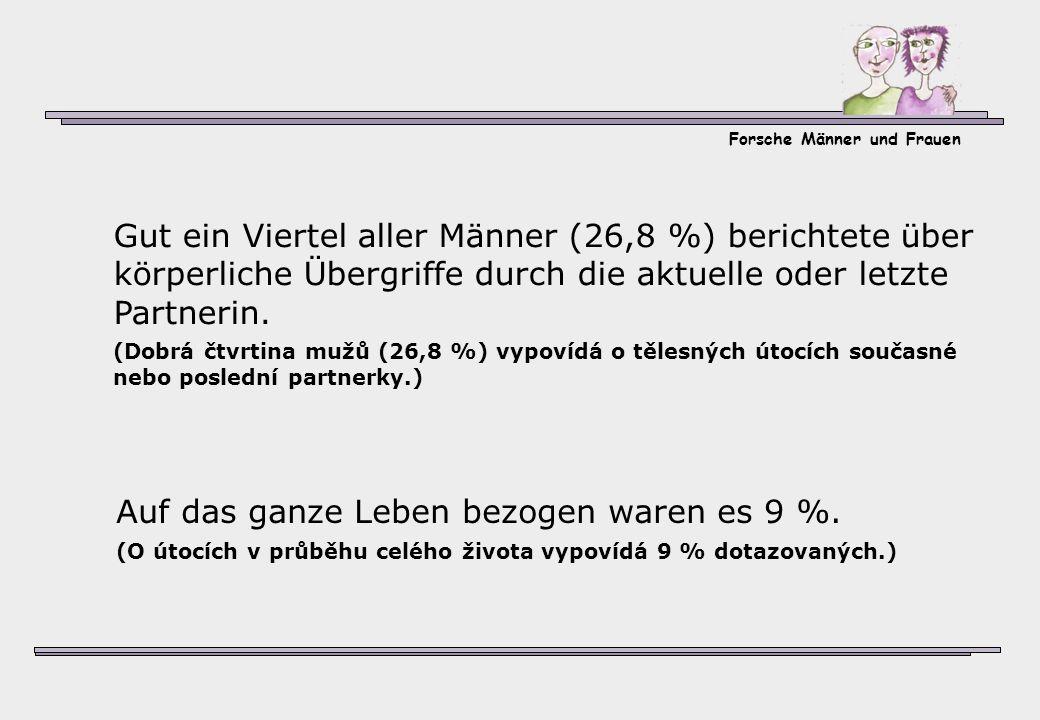 Forsche Männer und Frauen Auf das ganze Leben bezogen waren es 9 %. (O útocích v průběhu celého života vypovídá 9 % dotazovaných.) Gut ein Viertel all