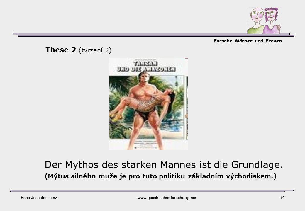 Forsche Männer und Frauen Hans-Joachim Lenzwww.geschlechterforschung.net 19 Der Mythos des starken Mannes ist die Grundlage. (Mýtus silného muže je pr