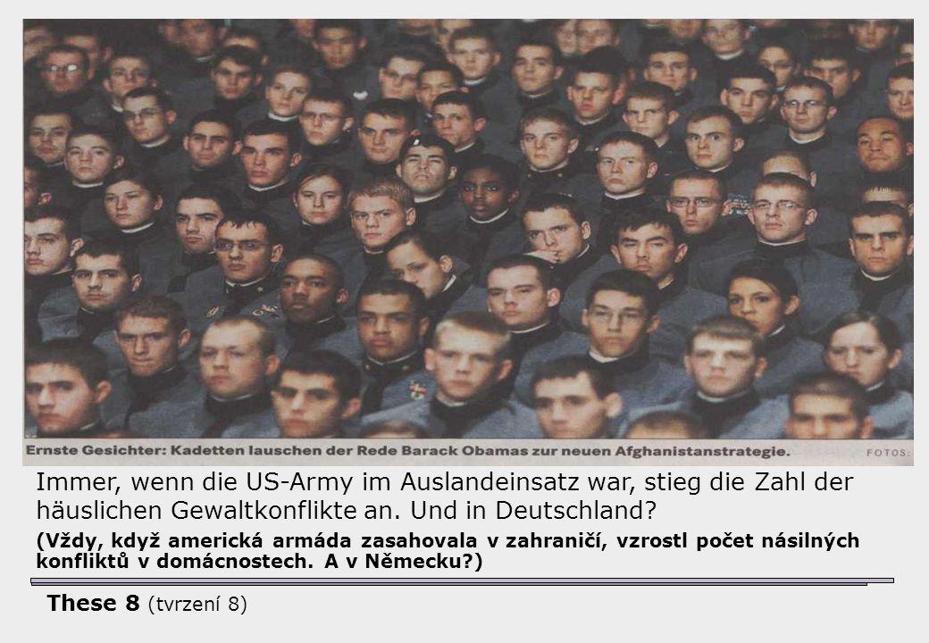 Forsche Männer und Frauen Immer, wenn die US-Army im Auslandeinsatz war, stieg die Zahl der häuslichen Gewaltkonflikte an. Und in Deutschland? (Vždy,