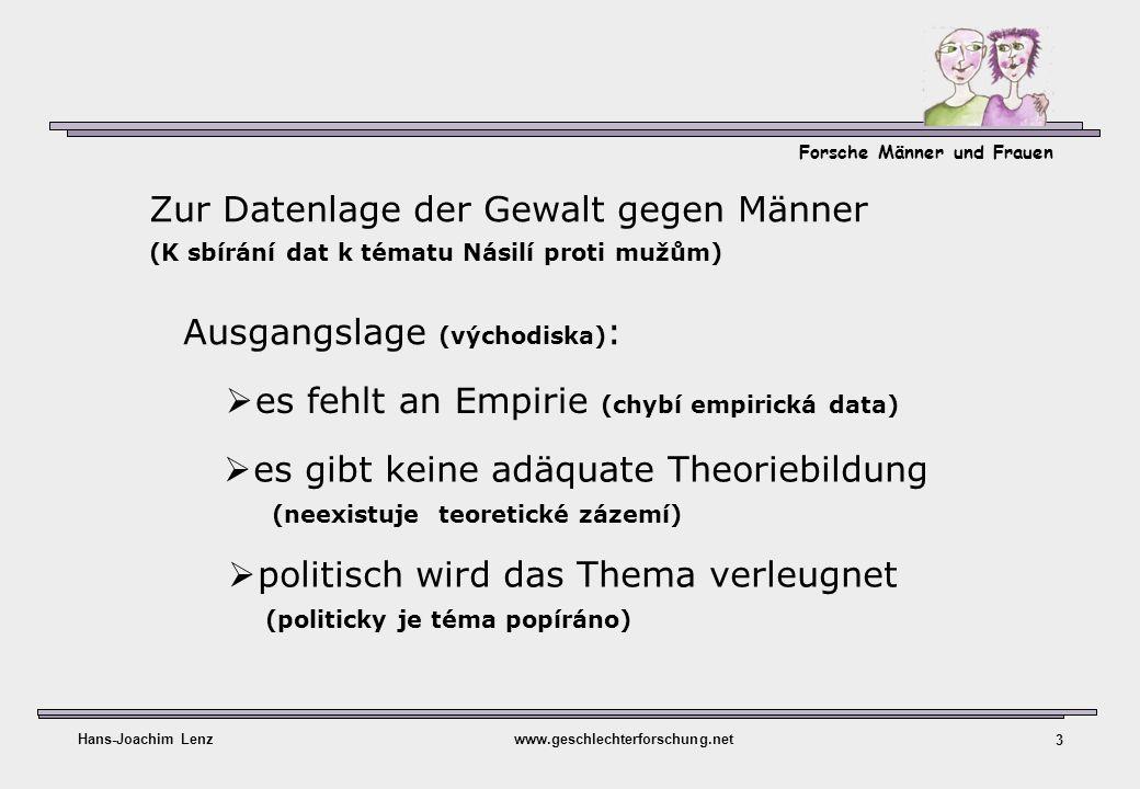 Forsche Männer und Frauen Hans-Joachim Lenzwww.geschlechterforschung.net 3 es fehlt an Empirie (chybí empirická data) Zur Datenlage der Gewalt gegen M