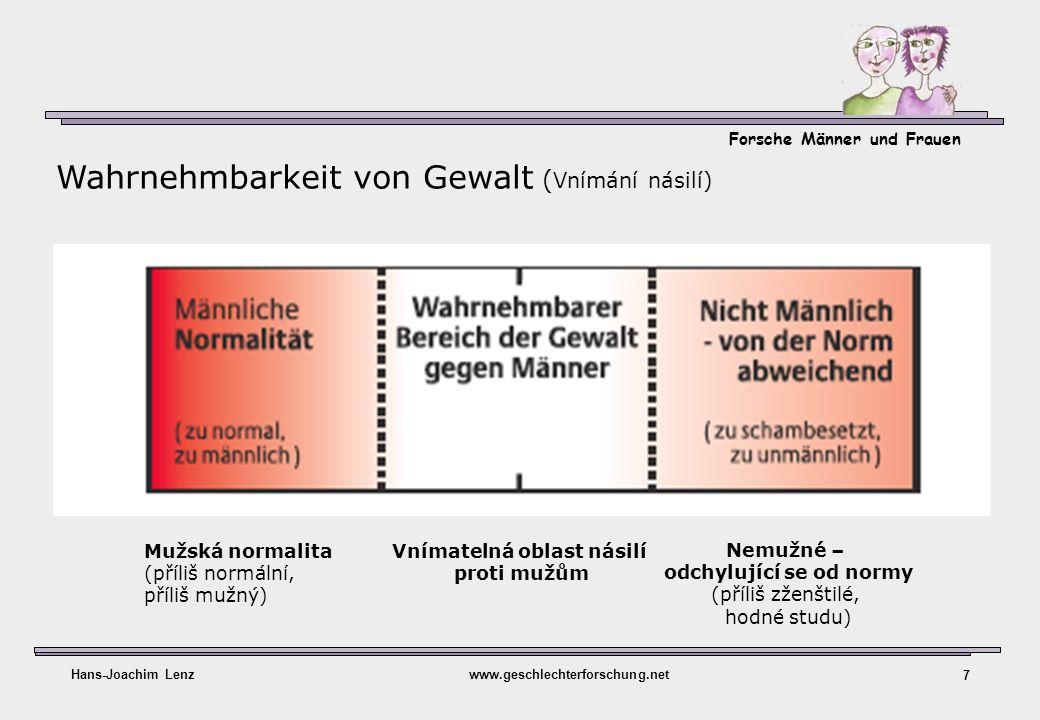 Forsche Männer und Frauen Hans-Joachim Lenzwww.geschlechterforschung.net 7 Wahrnehmbarkeit von Gewalt ( Vnímání násilí) Mužská normalita (příliš normá