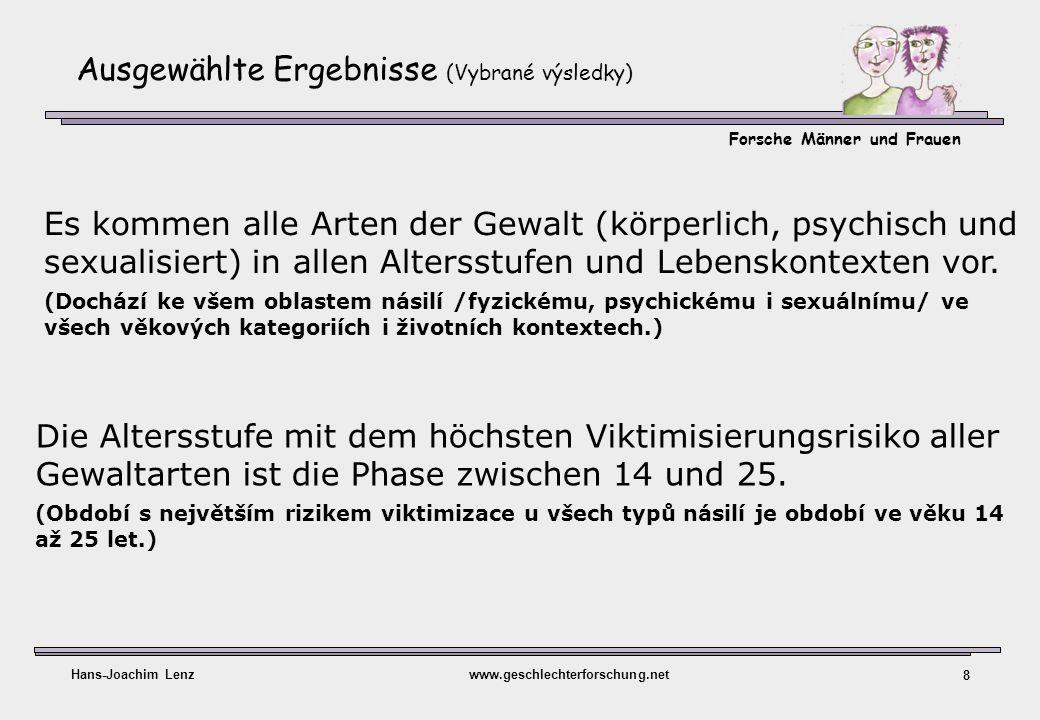 Forsche Männer und Frauen Hans-Joachim Lenzwww.geschlechterforschung.net 8 Ausgewählte Ergebnisse (Vybrané výsledky) Die Altersstufe mit dem höchsten