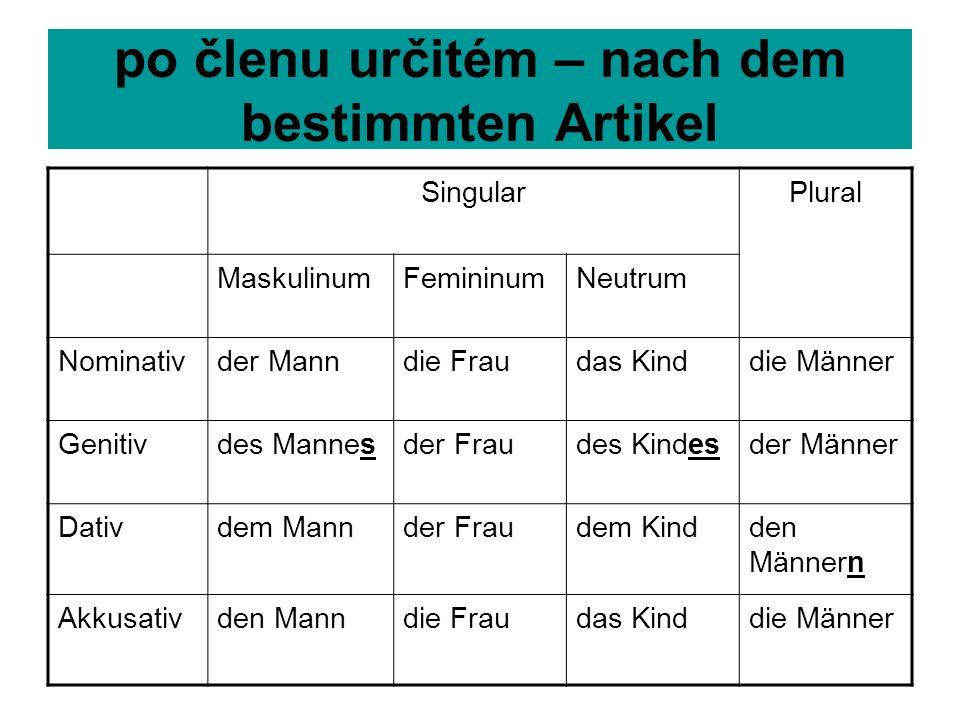 Člen určitý – der bestimmte Artikel Singular číslo jednotné Plural číslo množné Maskulinum rod mužský Femininum rod ženský Neutrum rod střední Nominat