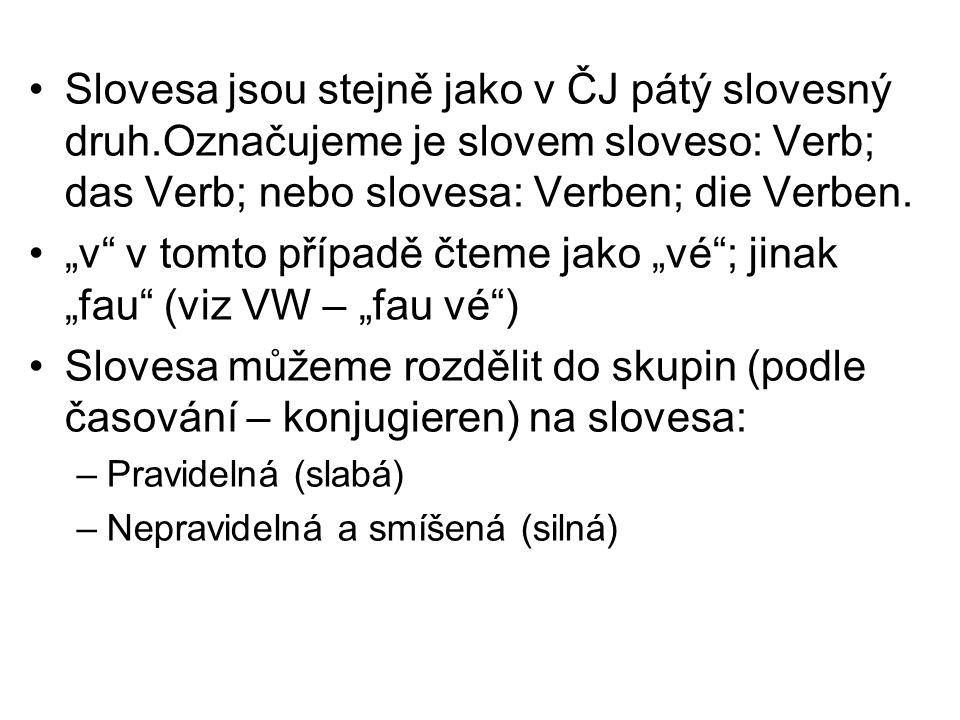Slovesa jsou stejně jako v ČJ pátý slovesný druh.Označujeme je slovem sloveso: Verb; das Verb; nebo slovesa: Verben; die Verben.
