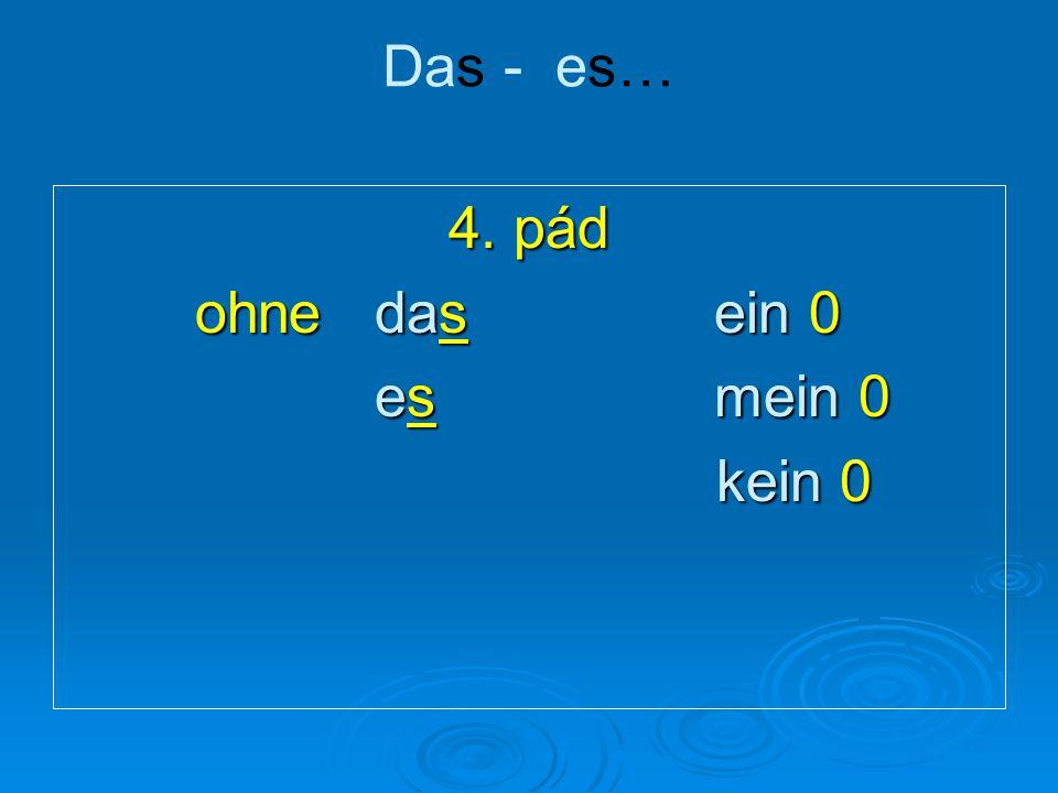 Plural: die – sie … 3. pád mit den deinen ihnen keinen Neurčitý člen v množ. čísle neexistuje.