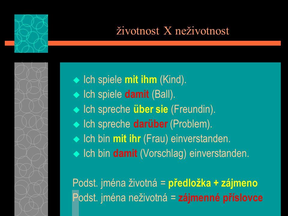 Zájmenná příslovce tázací a ukazovací mit - damit womit.