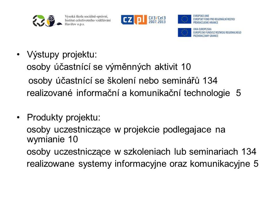 Výstupy projektu: osoby účastnící se výměnných aktivit 10 osoby účastnící se školení nebo seminářů 134 realizované informační a komunikační technologi