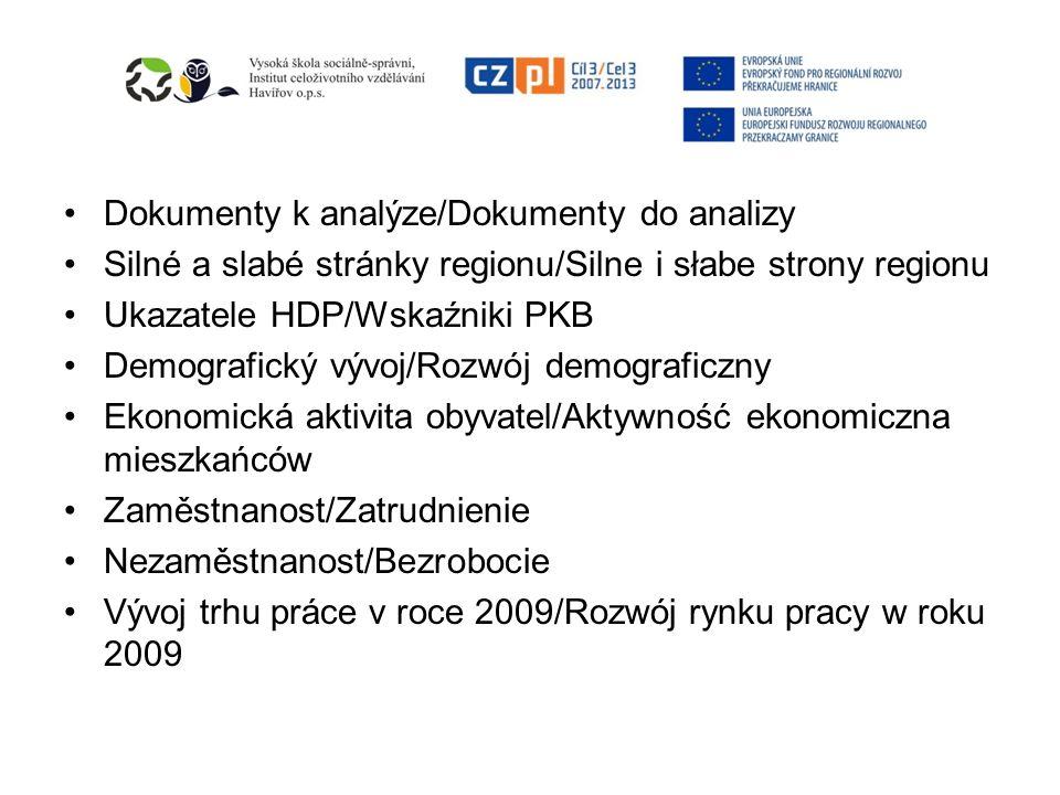 Dokumenty k analýze/Dokumenty do analizy Silné a slabé stránky regionu/Silne i słabe strony regionu Ukazatele HDP/Wskaźniki PKB Demografický vývoj/Rozwój demograficzny Ekonomická aktivita obyvatel/Aktywność ekonomiczna mieszkańców Zaměstnanost/Zatrudnienie Nezaměstnanost/Bezrobocie Vývoj trhu práce v roce 2009/Rozwój rynku pracy w roku 2009