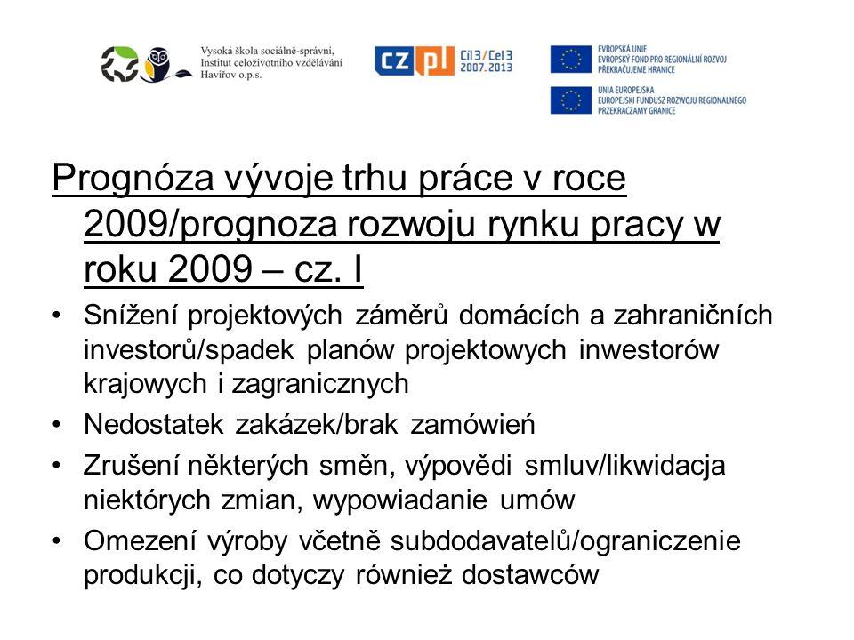Prognóza vývoje trhu práce v roce 2009/prognoza rozwoju rynku pracy w roku 2009 – cz. I Snížení projektových záměrů domácích a zahraničních investorů/