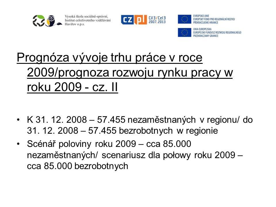 Prognóza vývoje trhu práce v roce 2009/prognoza rozwoju rynku pracy w roku 2009 - cz. II K 31. 12. 2008 – 57.455 nezaměstnaných v regionu/ do 31. 12.
