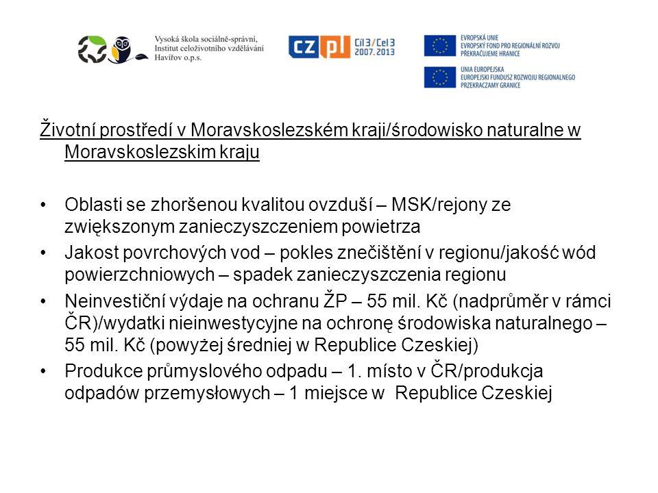 Životní prostředí v Moravskoslezském kraji/środowisko naturalne w Moravskoslezskim kraju Oblasti se zhoršenou kvalitou ovzduší – MSK/rejony ze zwiększ