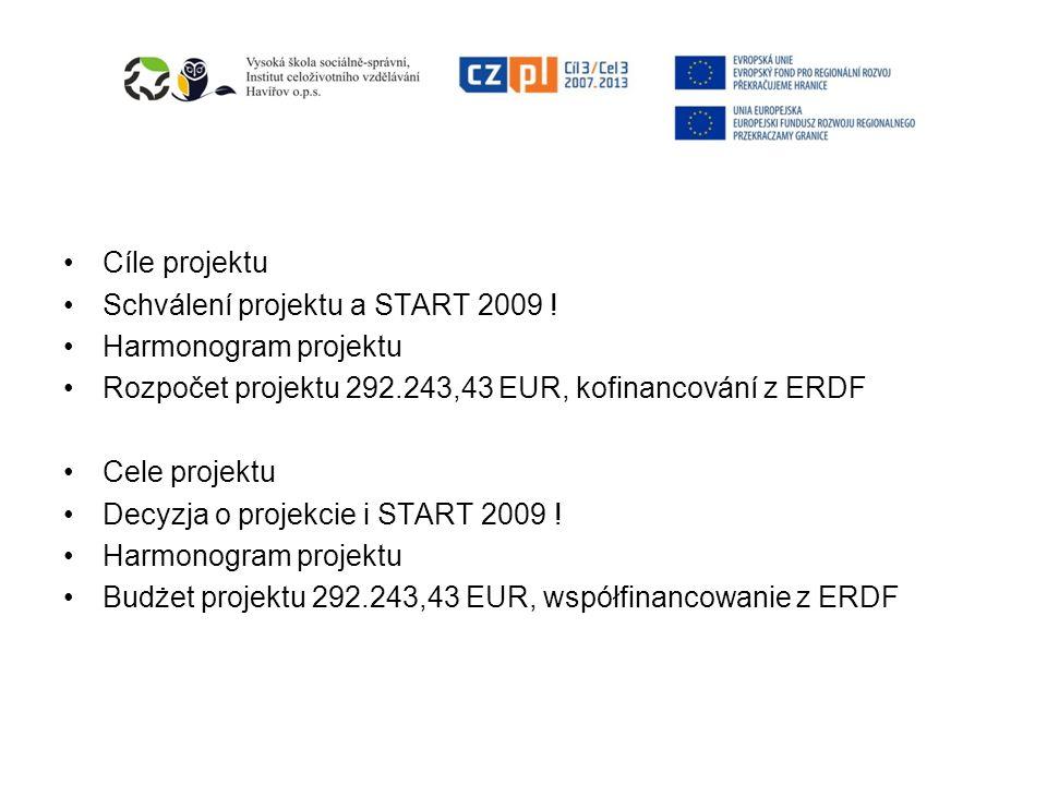 Cíle projektu Schválení projektu a START 2009 ! Harmonogram projektu Rozpočet projektu 292.243,43 EUR, kofinancování z ERDF Cele projektu Decyzja o pr