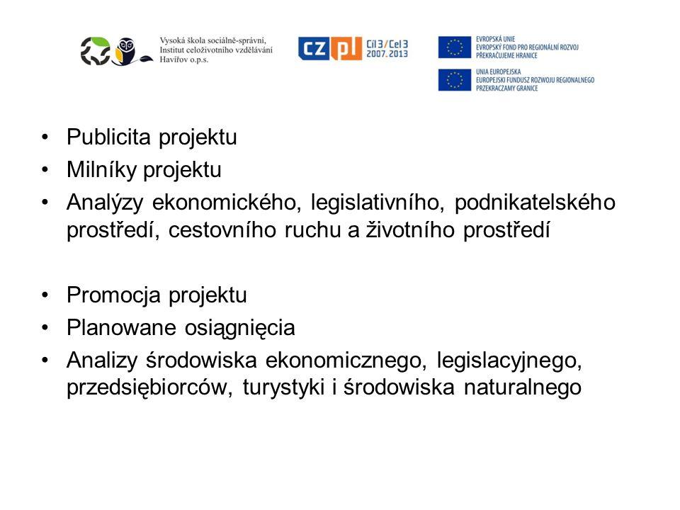 Publicita projektu Milníky projektu Analýzy ekonomického, legislativního, podnikatelského prostředí, cestovního ruchu a životního prostředí Promocja p