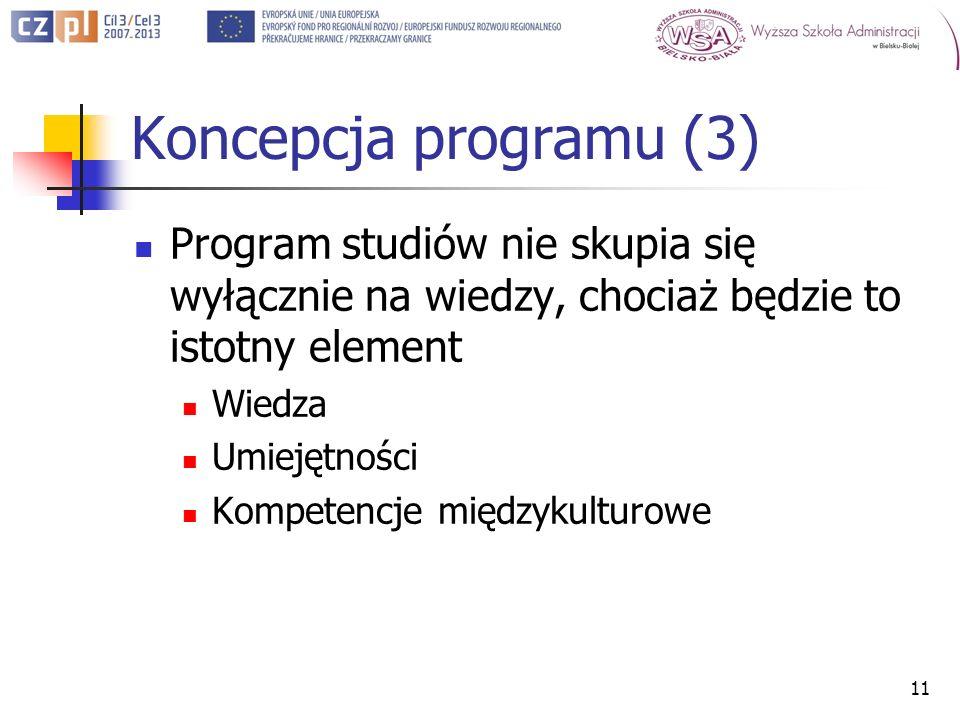 Koncepcja programu (3) Program studiów nie skupia się wyłącznie na wiedzy, chociaż będzie to istotny element Wiedza Umiejętności Kompetencje międzykulturowe 11