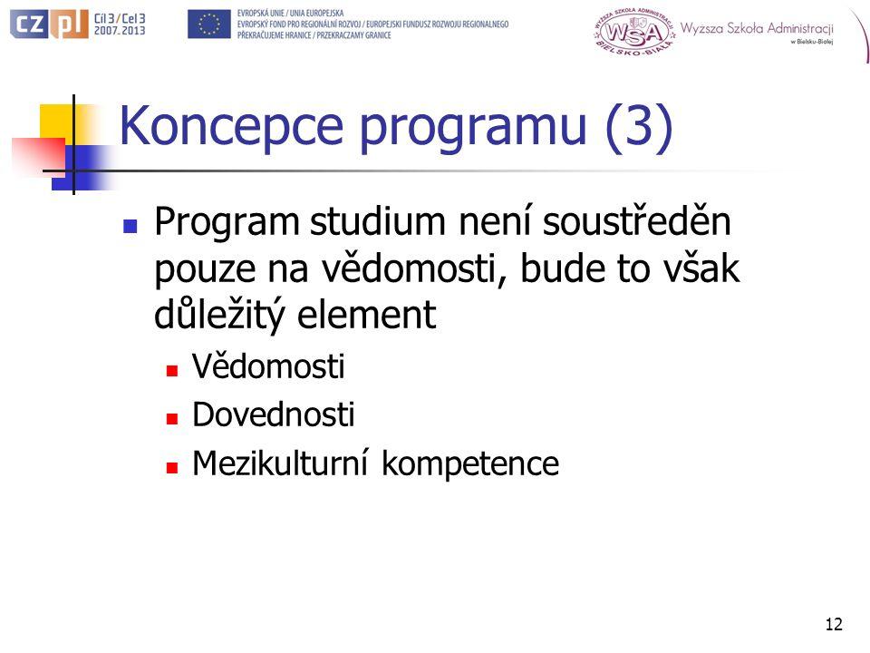 Koncepce programu (3) Program studium není soustředěn pouze na vědomosti, bude to však důležitý element Vědomosti Dovednosti Mezikulturní kompetence 12