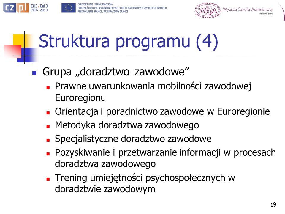 Struktura programu (4) Grupa doradztwo zawodowe Prawne uwarunkowania mobilności zawodowej Euroregionu Orientacja i poradnictwo zawodowe w Euroregionie Metodyka doradztwa zawodowego Specjalistyczne doradztwo zawodowe Pozyskiwanie i przetwarzanie informacji w procesach doradztwa zawodowego Trening umiejętności psychospołecznych w doradztwie zawodowym 19