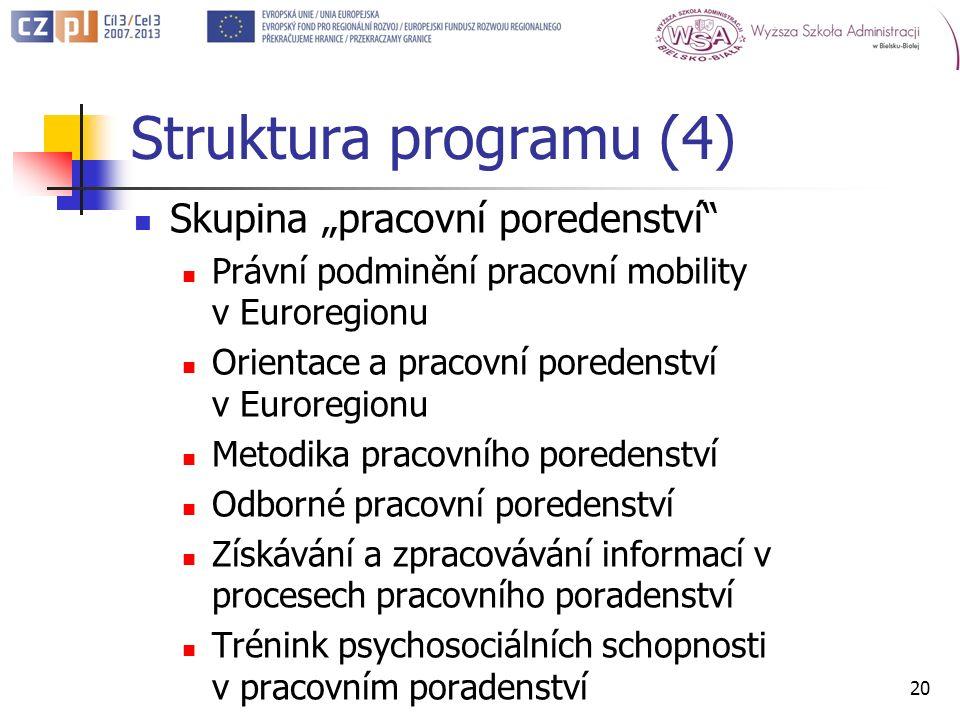 Struktura programu (4) Skupina pracovní poredenství Právní podminění pracovní mobility v Euroregionu Orientace a pracovní poredenství v Euroregionu Metodika pracovního poredenství Odborné pracovní poredenství Získávání a zpracovávání informací v procesech pracovního poradenství Trénink psychosociálních schopnosti v pracovním poradenství 20