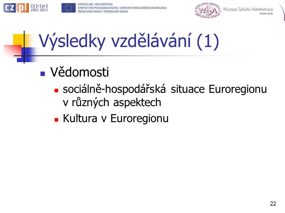 Výsledky vzdělávání (1) Vědomosti sociálně-hospodářská situace Euroregionu v různých aspektech Kultura v Euroregionu 22