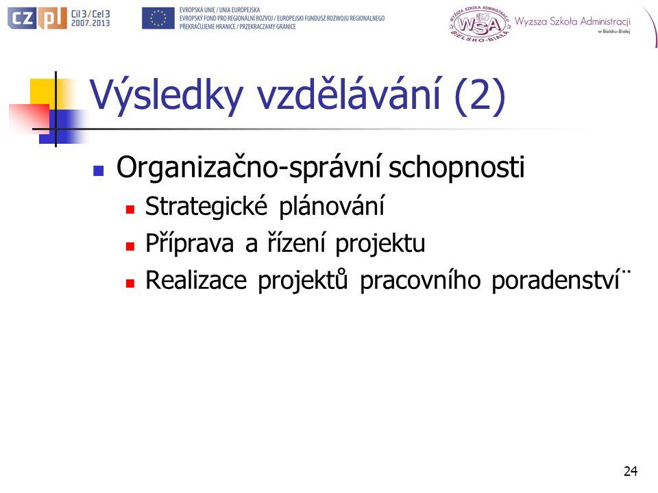 Výsledky vzdělávání (2) Organizačno-správní schopnosti Strategické plánování Příprava a řízení projektu Realizace projektů pracovního poradenství¨ 24