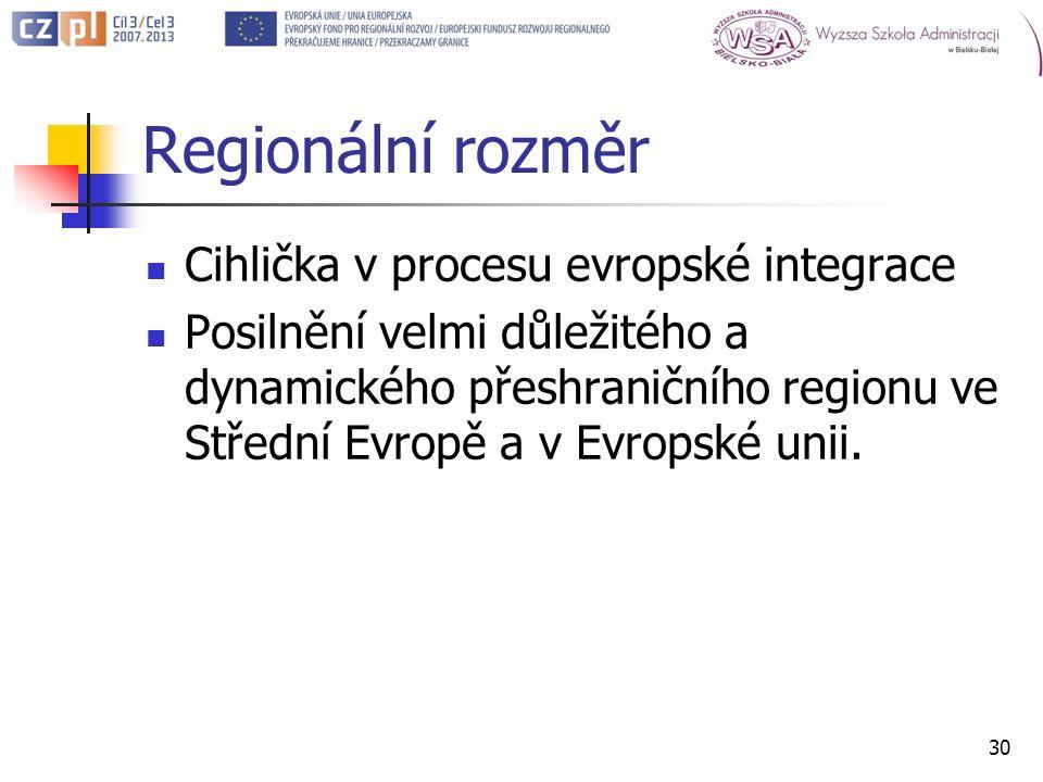 Regionální rozměr Cihlička v procesu evropské integrace Posilnění velmi důležitého a dynamického přeshraničního regionu ve Střední Evropě a v Evropské unii.