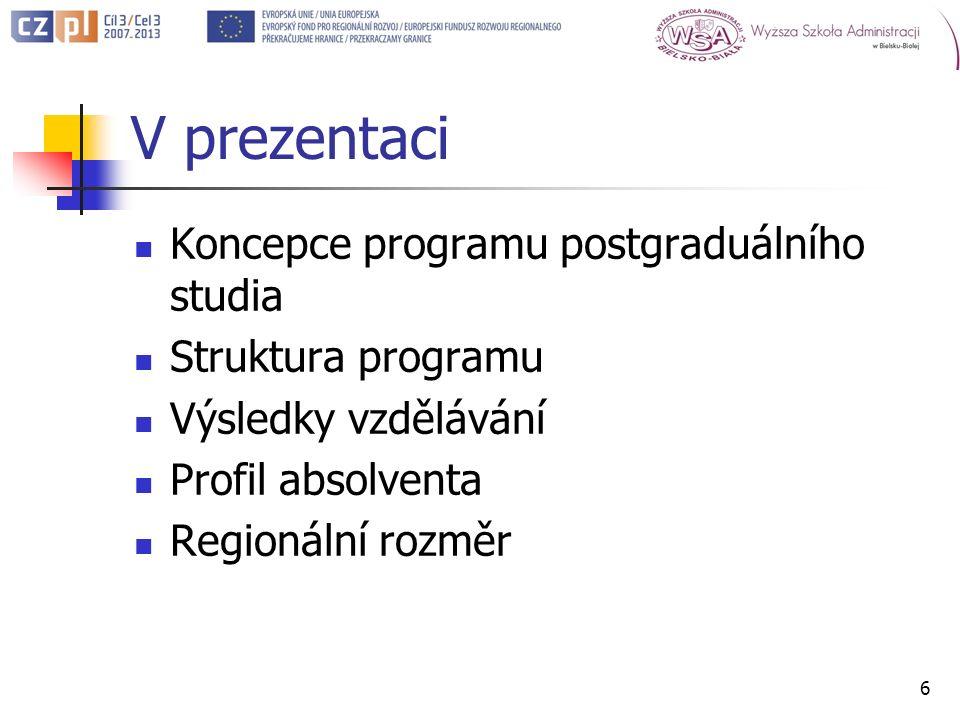V prezentaci Koncepce programu postgraduálního studia Struktura programu Výsledky vzdělávání Profil absolventa Regionální rozměr 6
