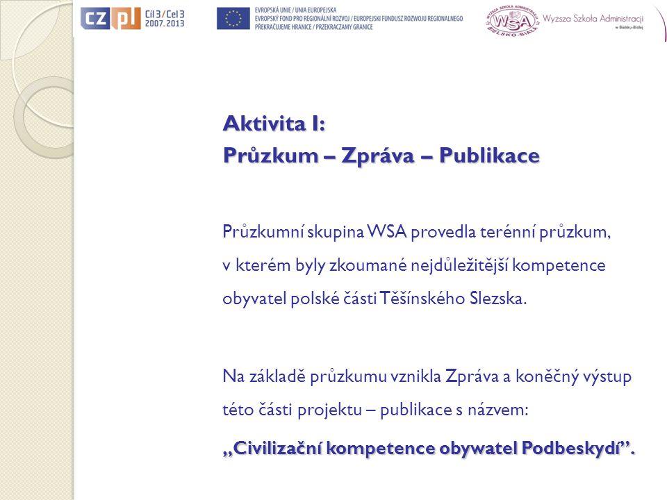 Aktivita I: Průzkum – Zpráva – Publikace Průzkumní skupina WSA provedla terénní průzkum, v kterém byly zkoumané nejdůležitější kompetence obyvatel polské části Těšínského Slezska.