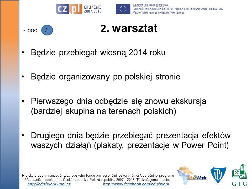 Będzie przebiegał wiosną 2014 roku Będzie organizowany po polskiej stronie Pierwszego dnia odbędzie się znowu ekskursja (bardziej skupina na terenach