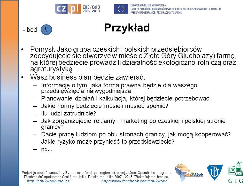 Pomysł: Jako grupa czeskich i polskich przedsiębiorców zdecydujecie się otworzyć w mieście Złote Góry Glucholazy) farmę, na której będziecie prowadzil