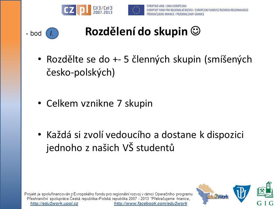 Rozdělte se do +- 5 členných skupin (smíšených česko-polských) Celkem vznikne 7 skupin Každá si zvolí vedoucího a dostane k dispozici jednoho z našich