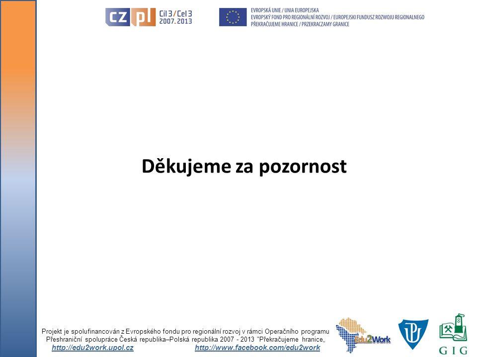 Děkujeme za pozornost Projekt je spolufinancován z Evropského fondu pro regionální rozvoj v rámci Operačního programu Přeshraniční spolupráce Česká re