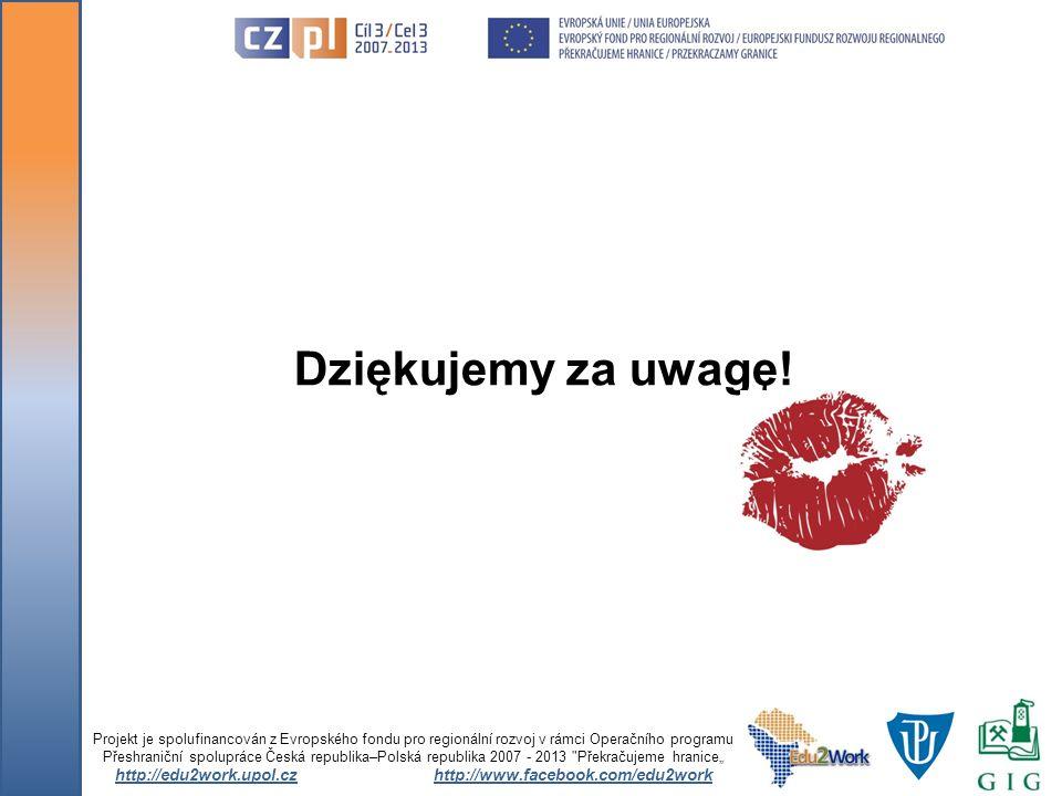 Dziękujemy za uwagę! Projekt je spolufinancován z Evropského fondu pro regionální rozvoj v rámci Operačního programu Přeshraniční spolupráce Česká rep