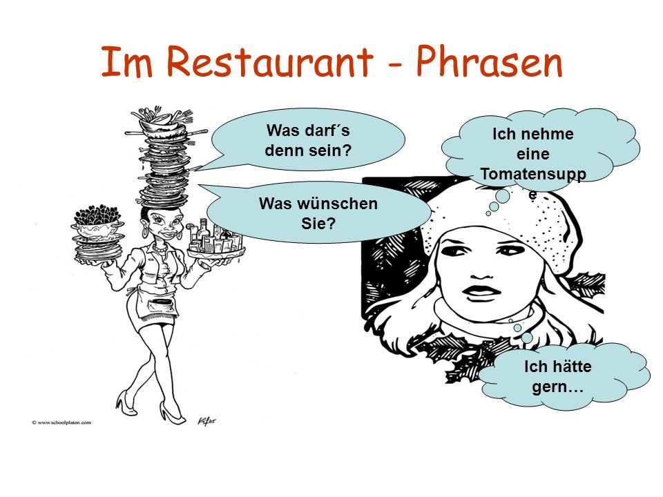 Im Restaurant - Phrasen Was darf´s denn sein? Was wünschen Sie? Ich nehme eine Tomatensupp e Ich hätte gern…