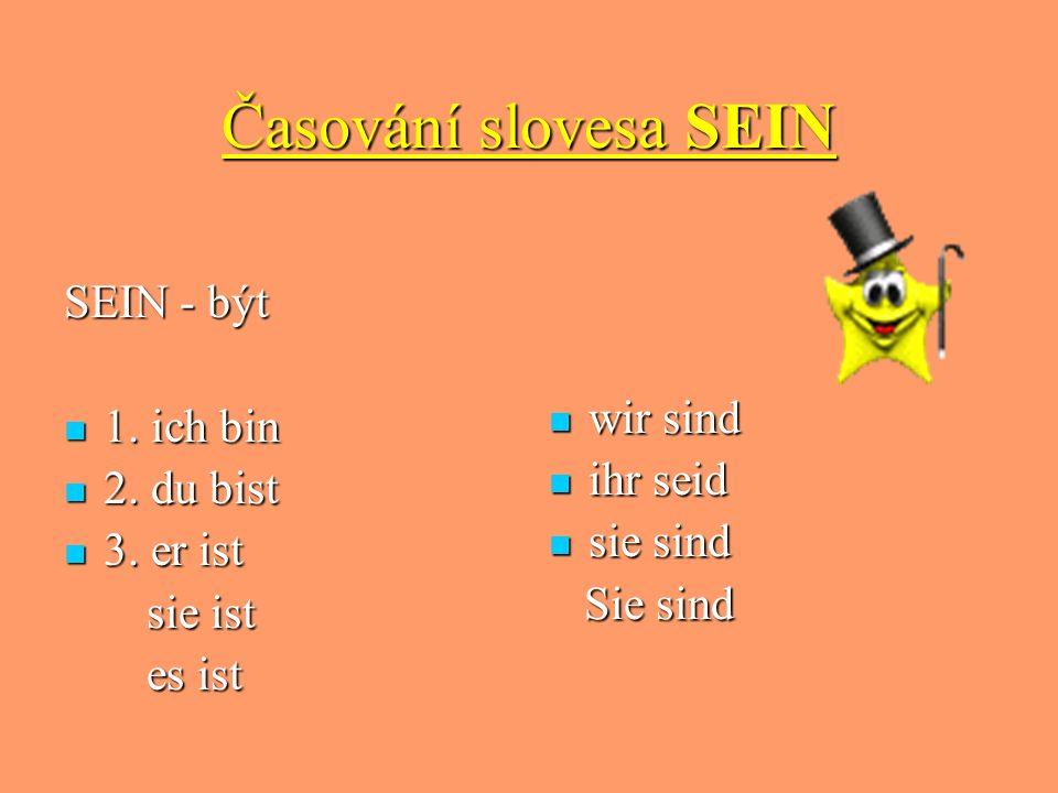 Časování slovesa SEIN SEIN - být 1. ich bin 1. ich bin 2. du bist 2. du bist 3. er ist 3. er ist sie ist sie ist es ist es ist wir sind wir sind ihr s