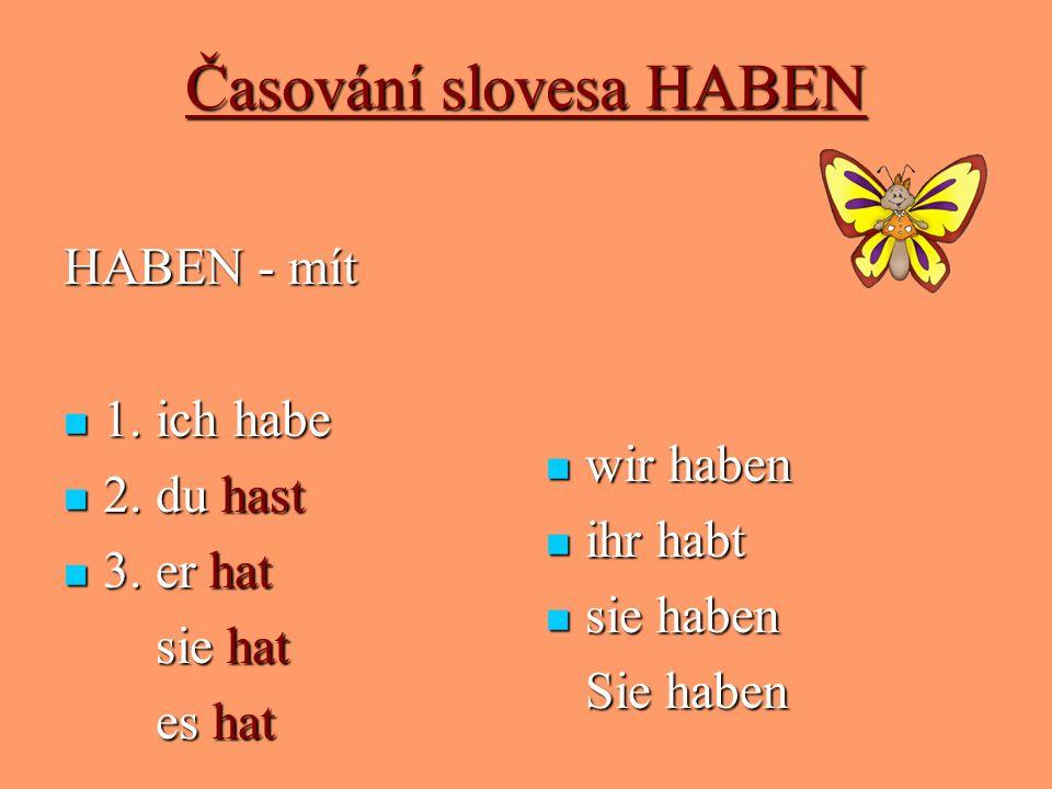 Časování slovesa HABEN HABEN - mít 1. ich habe 1. ich habe 2. du hast 2. du hast 3. er hat 3. er hat sie hat sie hat es hat es hat wir haben wir haben