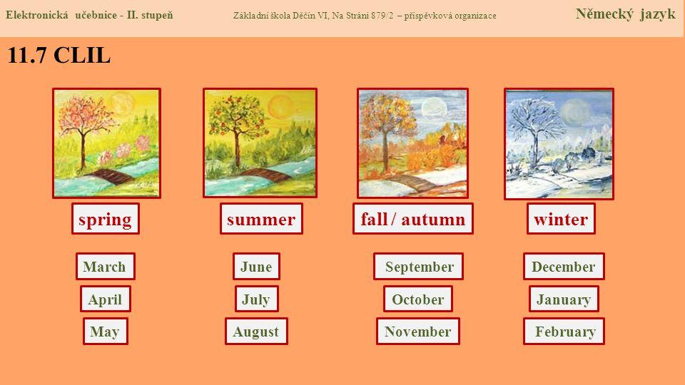 springsummerwinter March fall / autumn Elektronická učebnice - II. stupeň Základní škola Děčín VI, Na Stráni 879/2 – příspěvková organizace Německý ja