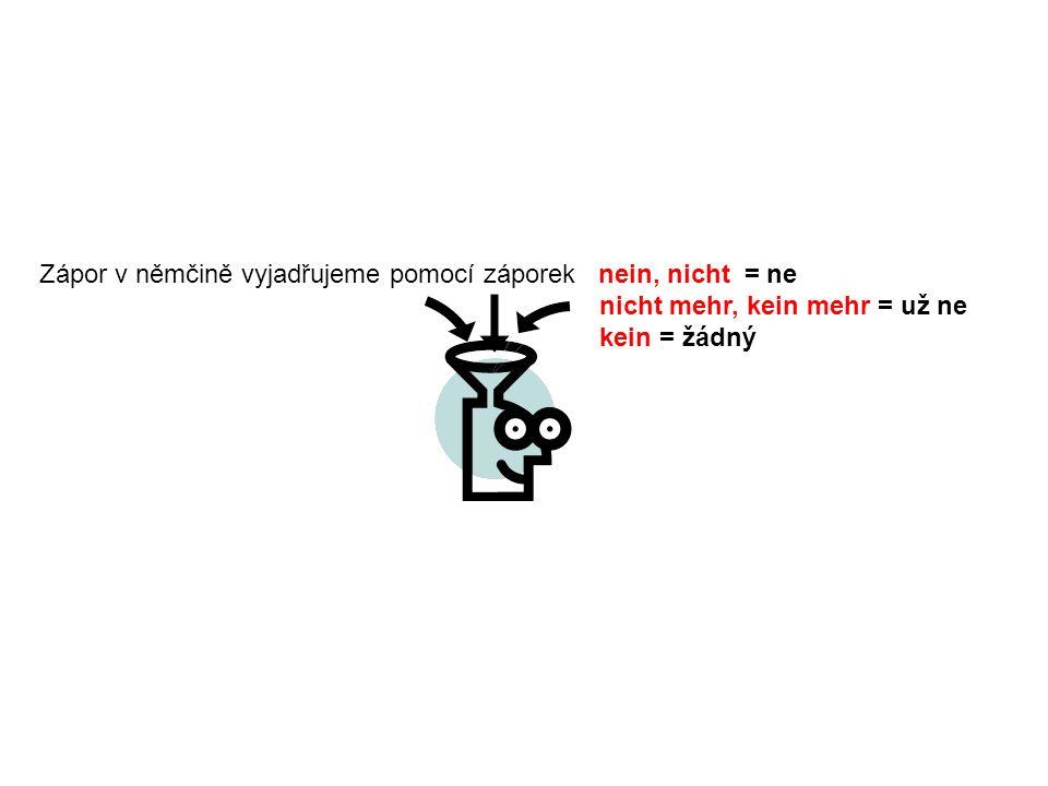 1.Zápor na začátku věty – jako odpověď ne.(Opakem je ja-ano ) Kommst du heute.