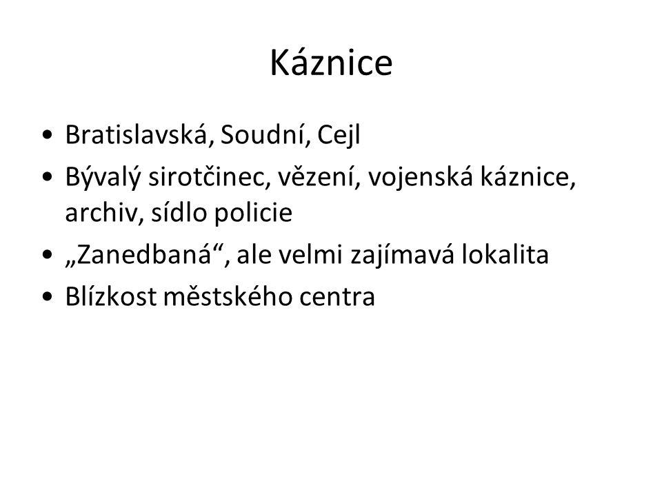 Káznice Bratislavská, Soudní, Cejl Bývalý sirotčinec, vězení, vojenská káznice, archiv, sídlo policie Zanedbaná, ale velmi zajímavá lokalita Blízkost