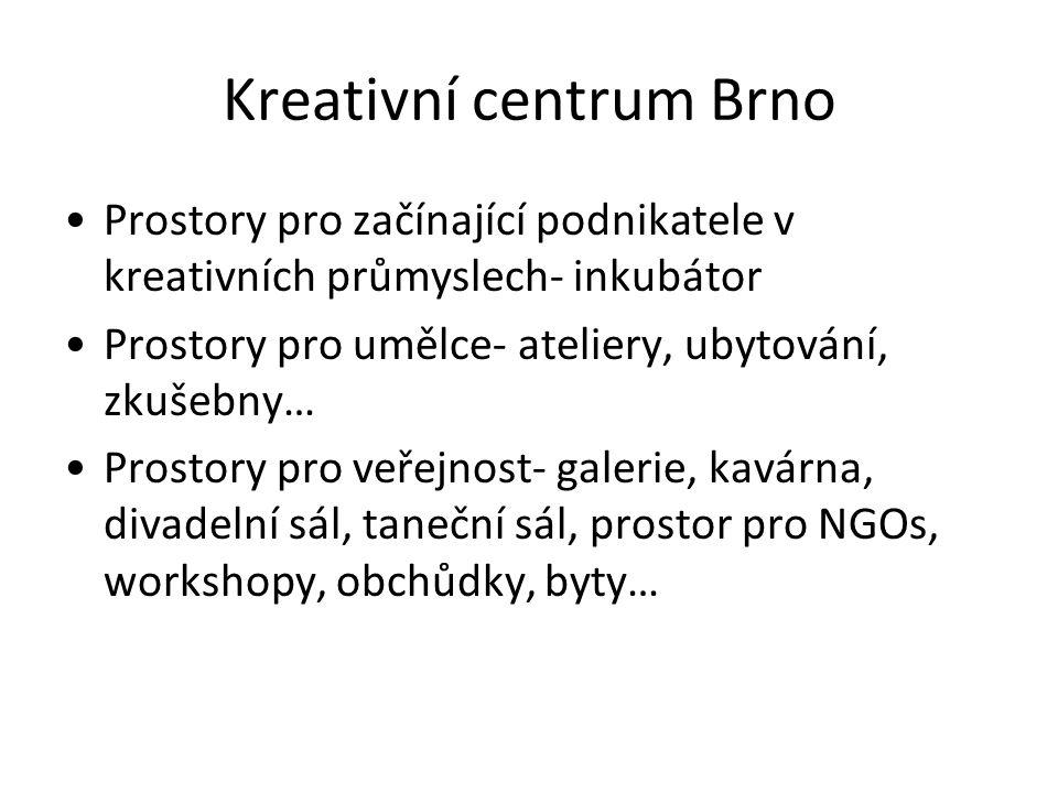 Kreativní centrum Brno Prostory pro začínající podnikatele v kreativních průmyslech- inkubátor Prostory pro umělce- ateliery, ubytování, zkušebny… Pro